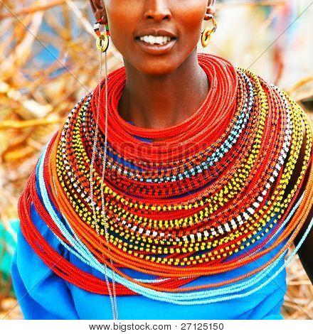 AFRICA, KENYA, SUMBURU, NOVEMBER 8:Portrait of Sumburu  woman wearing traditional handmade accessories,  review of daily life of local people, near Sumburu Park National Reserve,November 8,2008,Kenya