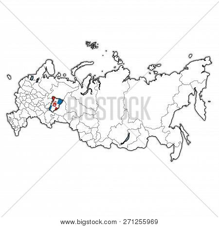 emblem of perm krai on map with administrative divisions and borders of russia poster