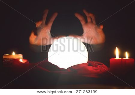 Crystal Ball On The Magic Table Background. Future Reading.