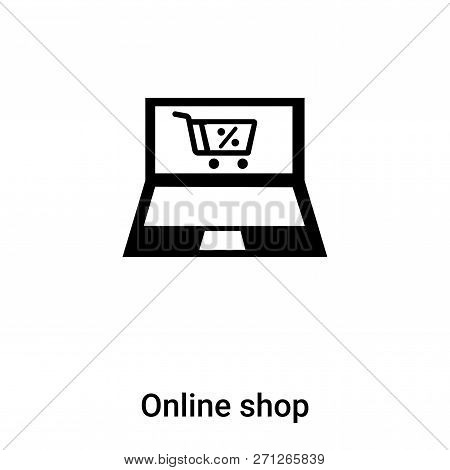 Online Shop Icon In Trendy Design Style. Online Shop Icon Isolated On White Background. Online Shop