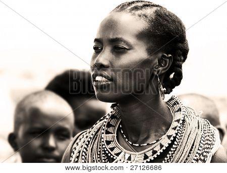 KENYA, AFRICA - NOVEMBER 8: Portrait of Samburu woman wearing traditional handmade accessories, review of daily life of local people, near Samburu Park National Reserve on November 8, 2008 in Kenya, Africa