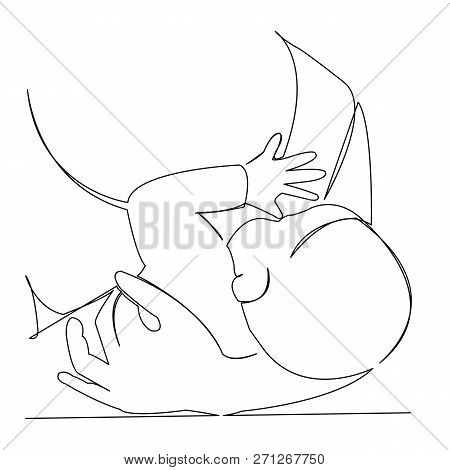 Continuous Single Drawn Single Line Woman Mother Breastfeeds Her Hand-drawn Picture Silhouette. Line