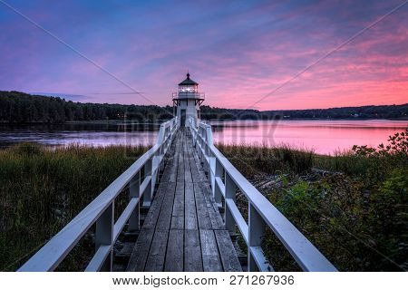 Doubling Point Lighthouse Walkway Sunset - Arrowsic Island, Kennebec River, Maine, Usa