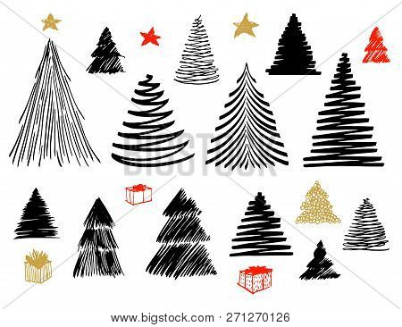 Big Set Of Christmas Tree Doodle. Hand Drawn Vector Conceptual Graphic Sketch Illustration. Isolated