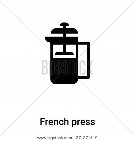 French Press Icon In Trendy Design Style. French Press Icon Isolated On White Background. French Pre