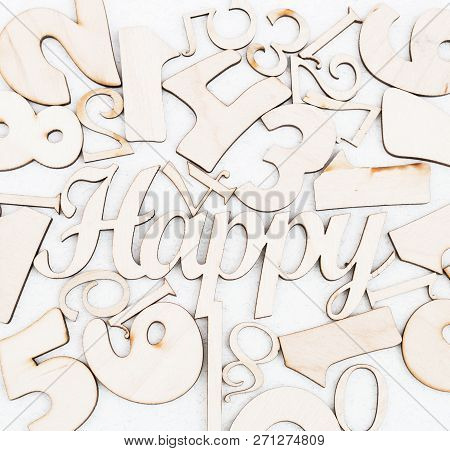 Chaotic Background Of Numbers From Zero To Nine And Spell Happy. Background With Numbers. Textures O