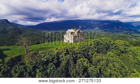 Ancient Graph Ruins Aerial. Abkhazia. Old House.
