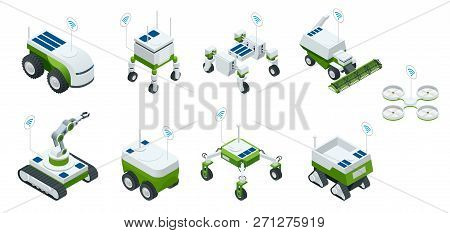 Isometric Set Of Iot Smart Industry Robot 4.0, Robots In Agriculture, Farming Robot, Robot Greenhous