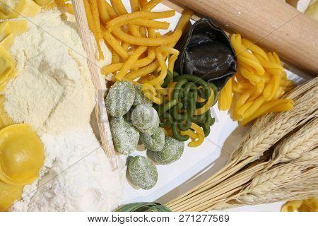 Fresh Italian Pasta With Wheat Flour And A Black Tortello
