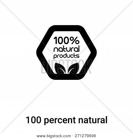 100 Percent Natural Icon In Trendy Design Style. 100 Percent Natural Icon Isolated On White Backgrou