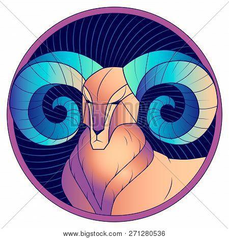 Aries Zodiac Sign, Astrological, Horoscope Symbol. Futuristic Style Icon. Stylized Graphic Portrait