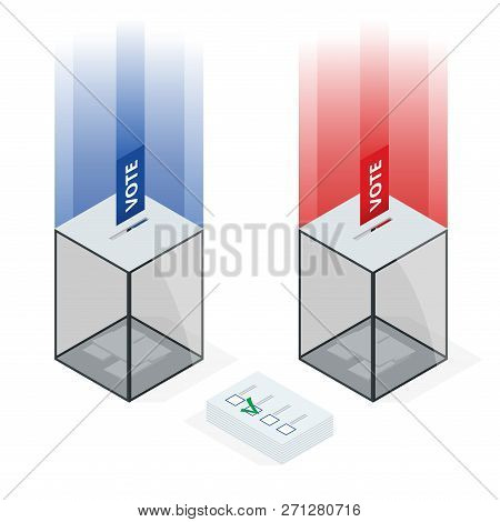 Isometric Transparent Ballot Box With Voting Paper In Hole On White Background Isolated Vector Illus