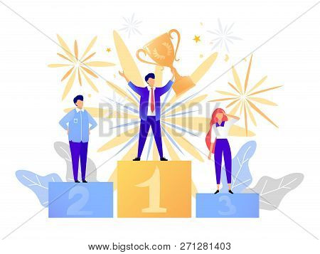 First Place Winner Award. Champion Standing On A Podium With A Prize. Man Victory Concept. Success V