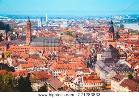 Panoramic View Of The Old Town Of Heidelberg On A Beautiful Sunny Day With Blue Sky And Clouds In Su