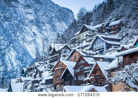 Classic Postcard View Of Traditional Wooden Houses In Famous Hallstatt Lakeside Town In The Alps In