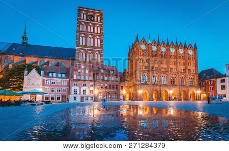 Classic Twilight View Of The Hanseatic Town Of Stralsund During Blue Hour At Dusk, Mecklenburg-vorpo