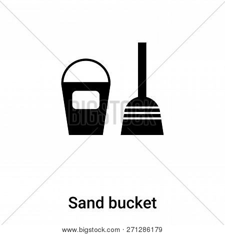 Sand Bucket Icon In Trendy Design Style. Sand Bucket Icon Isolated On White Background. Sand Bucket
