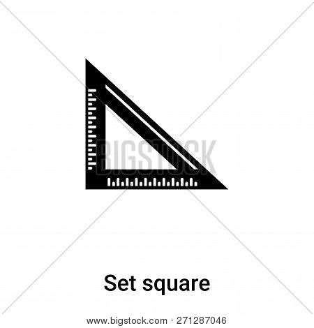 Set Square Icon In Trendy Design Style. Set Square Icon Isolated On White Background. Set Square Vec