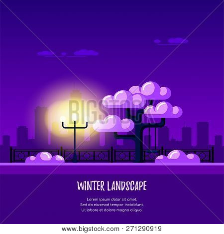 Winter Park In The City. Tree Covered By Snow, Streetlight And Fence. Flat Style Illustration.
