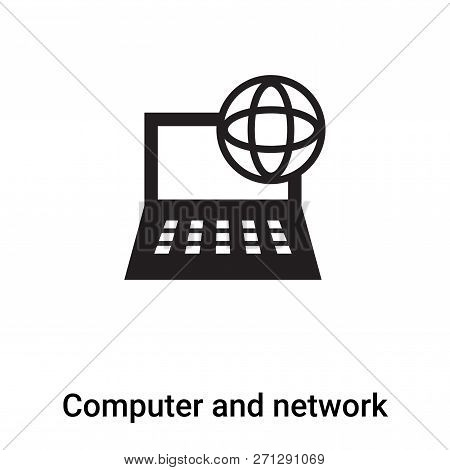 Computer And Network Icon In Trendy Design Style. Computer And Network Icon Isolated On White Backgr