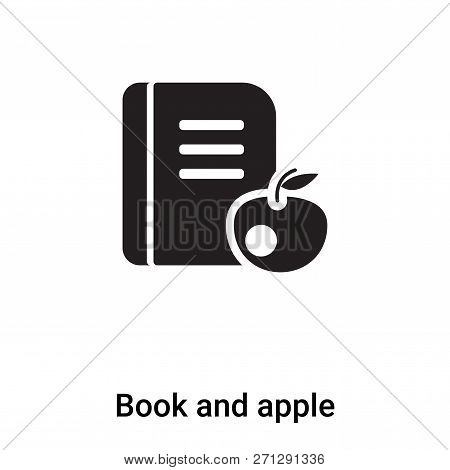 Book And Apple Icon In Trendy Design Style. Book And Apple Icon Isolated On White Background. Book A