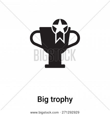 Big Trophy Icon In Trendy Design Style. Big Trophy Icon Isolated On White Background. Big Trophy Vec
