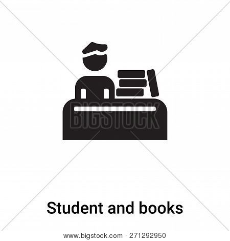 Student And Books Icon In Trendy Design Style. Student And Books Icon Isolated On White Background.