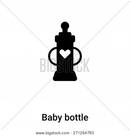 Baby Bottle Icon In Trendy Design Style. Baby Bottle Icon Isolated On White Background. Baby Bottle