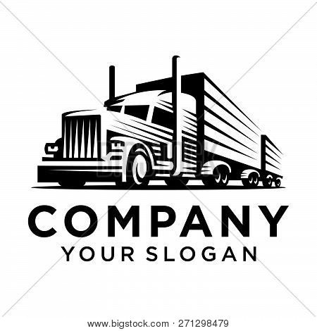Truck, Lorry Or Delivery Logo. Trucking Industry, Cargo Transportation Concept. Vector Illustration