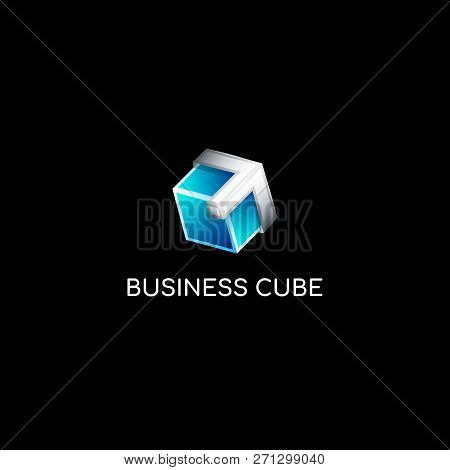 Vector Colourful Blue Gradient And Metal 3d Glass Cube Logo Template. Ice Cube With Silver Arrow Bra