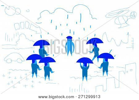 business people team with umbrella unprotected coworker disappointed outlaw concept hard working process horizontal sketch hand drawn poster