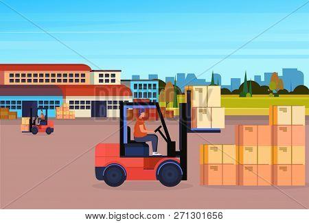 Forklift Driver Loader Pallet Stacker Truck Equipment Warehouse Yard Exterior Delivery Concept Horiz