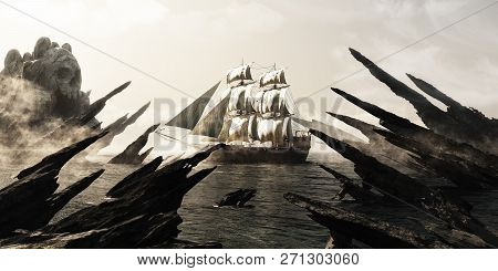 Search For Skull Island. Pirate Or Merchant Sailing Ship Sailing Toward A Mysterious Foggy Skull Sha