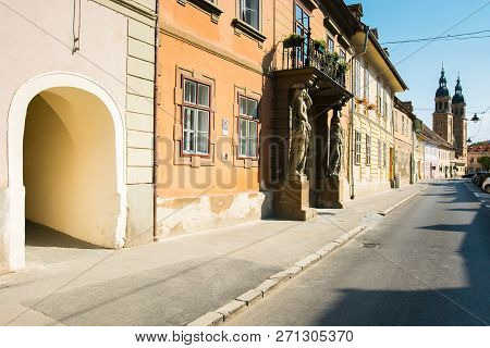 Sibiu, Romania - Jul 25, 2017: Places Of Interest On Mitropoliei Street In Sibiu. Xenopol Passage En