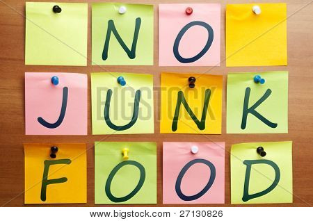 No junk food words made by post it