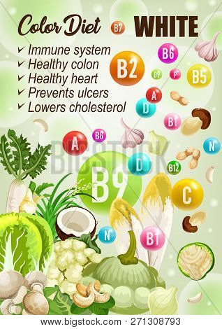 Color Diet White Day, Vitamins A, B, C. Vector Coconut And Mushrooms, Garlic, Nuts, Radish And Ginge