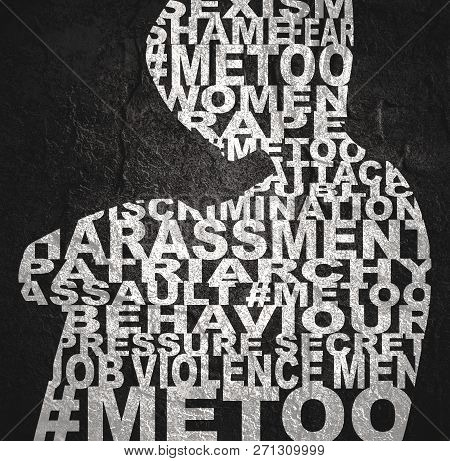 Me Too Hashtag. Social Movement Concerning Sexual Assault And Harassment. Woman Silhouette Designed