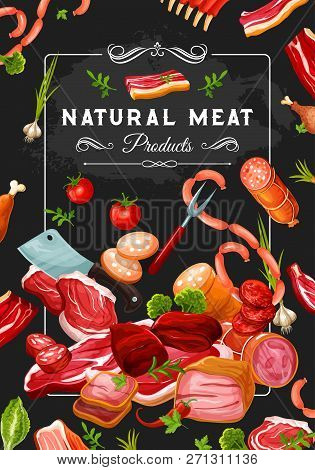 Natural Meat Products, Vegetables And Kitchen Utensil. Butcher Shop Steaks, Wurst And Pork, Bacon An