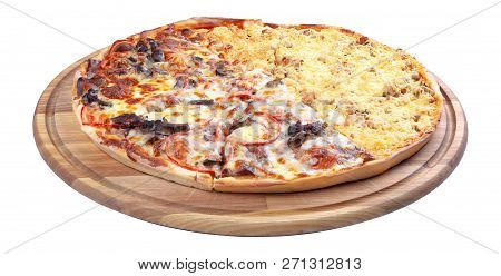 Double Topping Pizza For Couples On The Wooden Desk Isolated. Three Quarter View. Cheese And Chicken