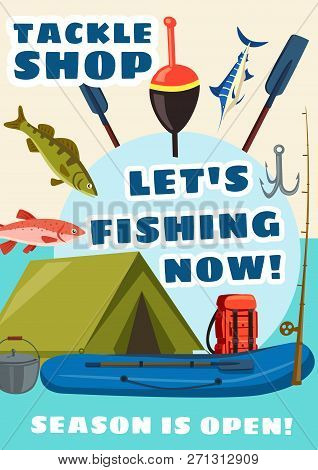 Fishing Sport Equipment Store, Tackle Shop Vector Poster. Fish And Fishery, Paddles For Boat, Bait A