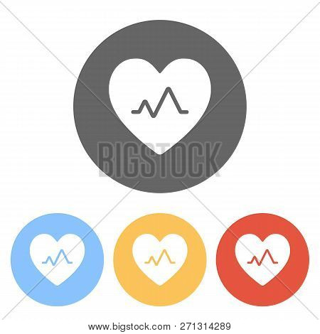 Cardiac Pulse. Heart And Pulse Line. Simple Single Icon. Set Of White Icons On Colored Circles