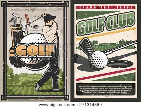 Golf Club Vintage Posters, Sport Game With Professional Golfer. Vector Sportsman With Stick Hits Bal