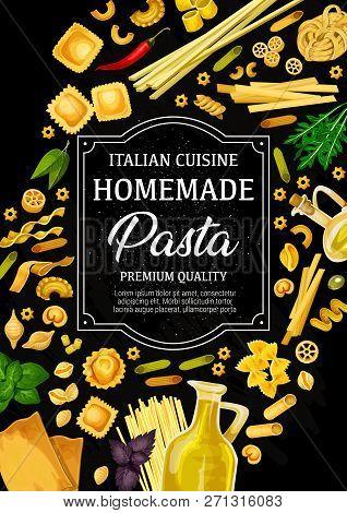 Italian Pasta Poster, Traditional Cuisine From Italy Menu. Vector Tagliatelle, Spaghetti And Fettucc