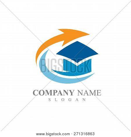 Toga Hat With Arrow Shape Education Logo Template