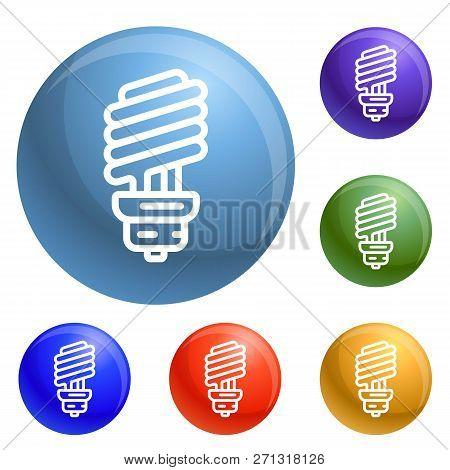 Economy Bulb Icons Set Vector 6 Color Isolated On White Background