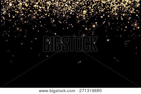 Abstract, Background, Birthday ,black ,bright ,bright Yellow Particles, Shine On Black Background ,h
