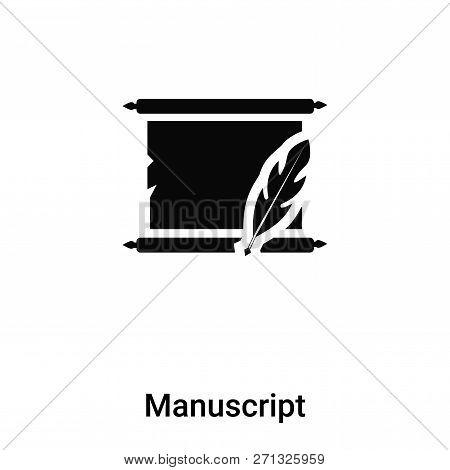 Manuscript Icon In Trendy Design Style. Manuscript Icon Isolated On White Background. Manuscript Vec