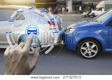 Finger Touch With Car Claim Icons Over The Network Connection On Car Crash Background, Car Accident
