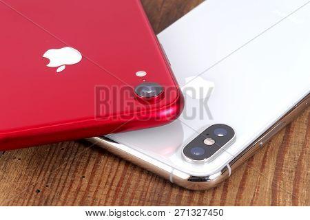 Koszalin, Poland - November 29, 2018: Silver Iphone Xs And Red Iphone Xr. The Iphone Xs And Iphone X