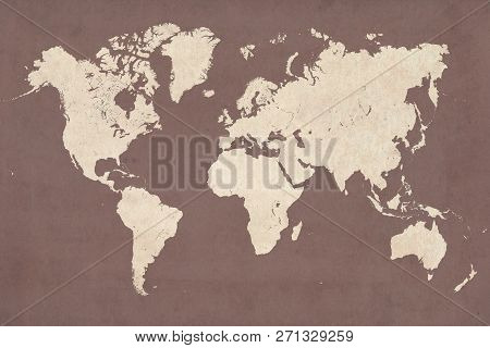 High Detailed Vintage Style Map Illustration Of The World (planisphere)